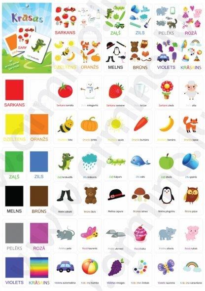 """Printējamas kartītes """"Krāsas"""""""