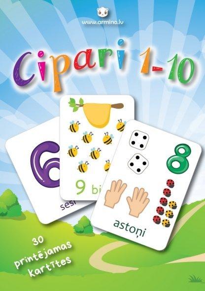 """Printējamas kartītes """"Cipari 1-10"""""""
