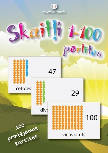 """Printējamas kartītes """"Skaitļi 1-100 pērlītes"""""""