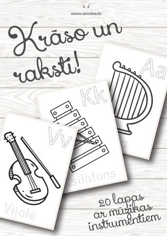Krāsojamās lapas mūzikas instrumenti. Krāso un raksti