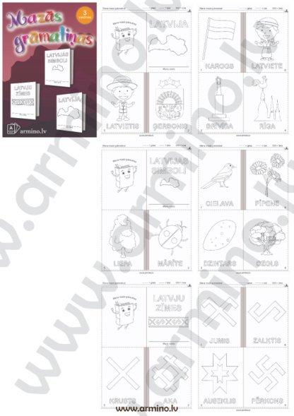 """Printējamas 3 krāsojamās grāmatiņas """"Latvija"""""""