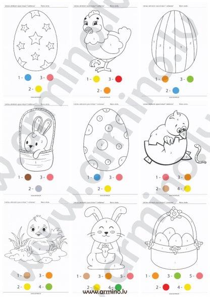 Krāsojamās lapas bērniem, izkrāsojamās lapas bērniem Lieldienas darba lapas bērniem. Krāso pēc cipariem