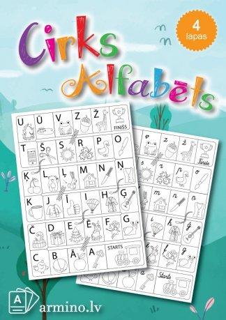Alfabēta cirks krāsojams alfabēts galda spēle. Krāsojamās lapas